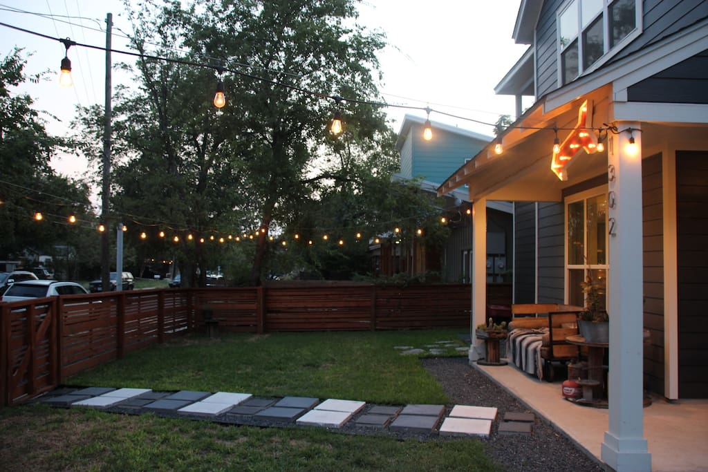 Dusk outside with our twinkle lights makes for great ambiance to have a drink or nice conversation over some tea.