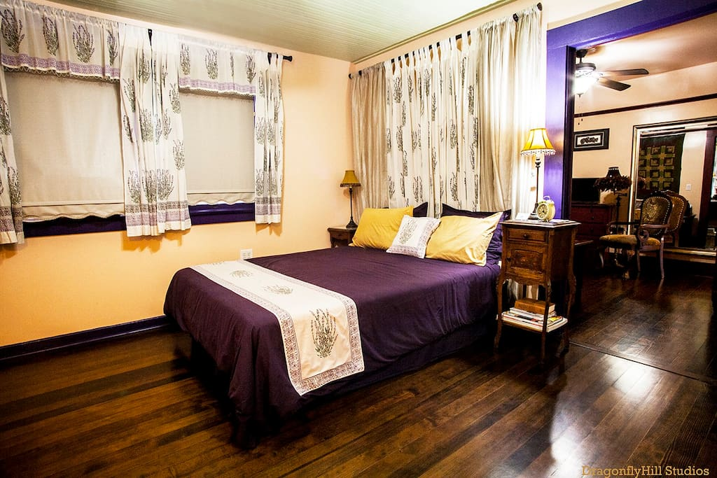 The Lavender Room, one of 2 rooms in your suite, offers a queen sized bed, which can be switched out to a twin or full if more room is needed.