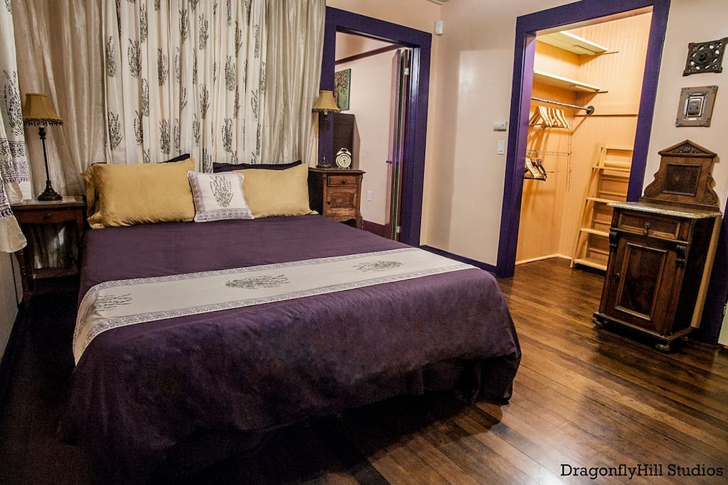 The Lavender Room, one of 2 rooms in your suite, offers a queen sized bed, which can be switched out to a twin or full if more room is needed