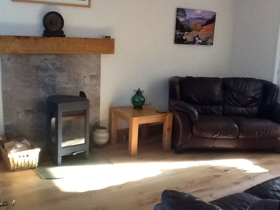 Main lounge with log burner and comfy setting