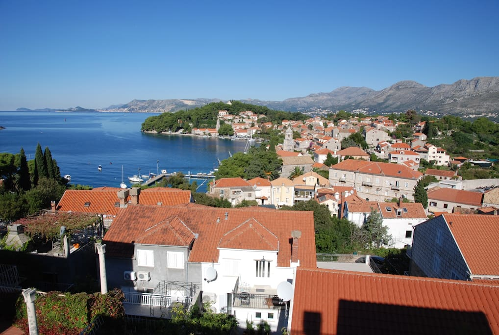 View of Cavtat from the terrace of the apartment (Left side of Cavtat's bay)
