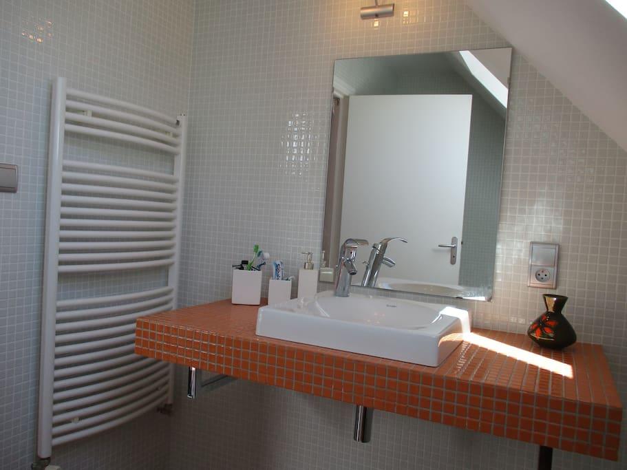 Salle de bain avec vasque et baignoire