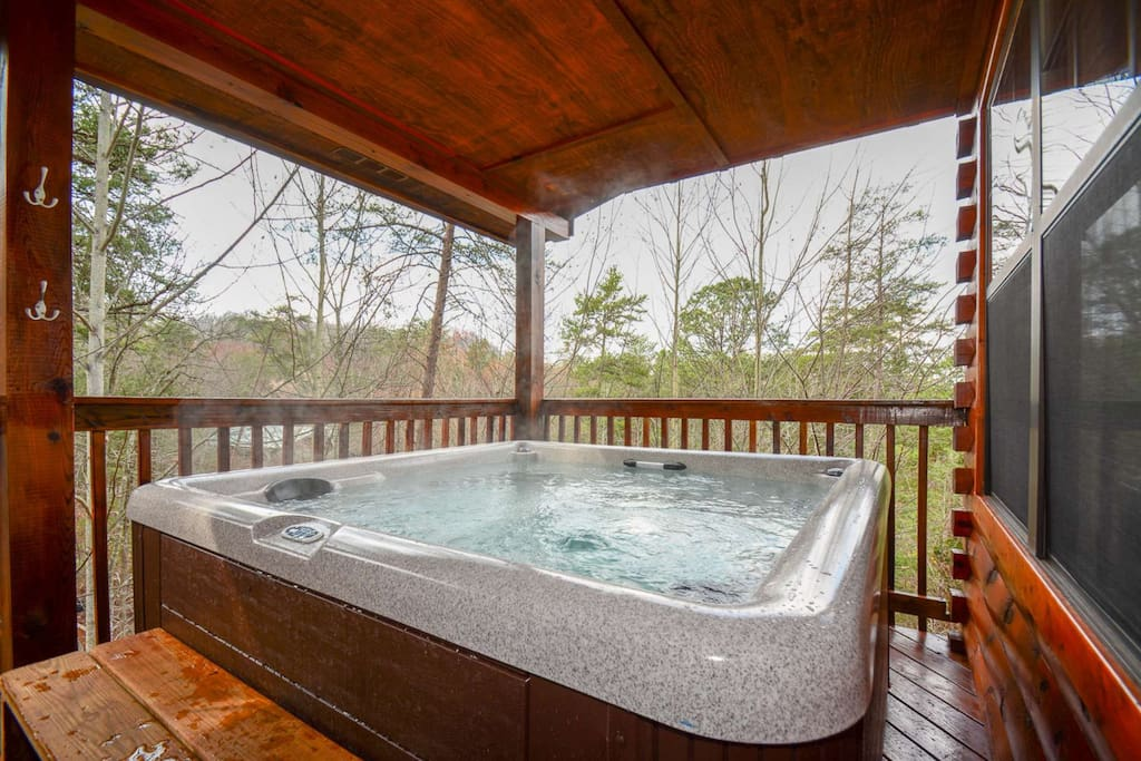 Time to relax and unwind in the hot tub after your long day at Dollywood.