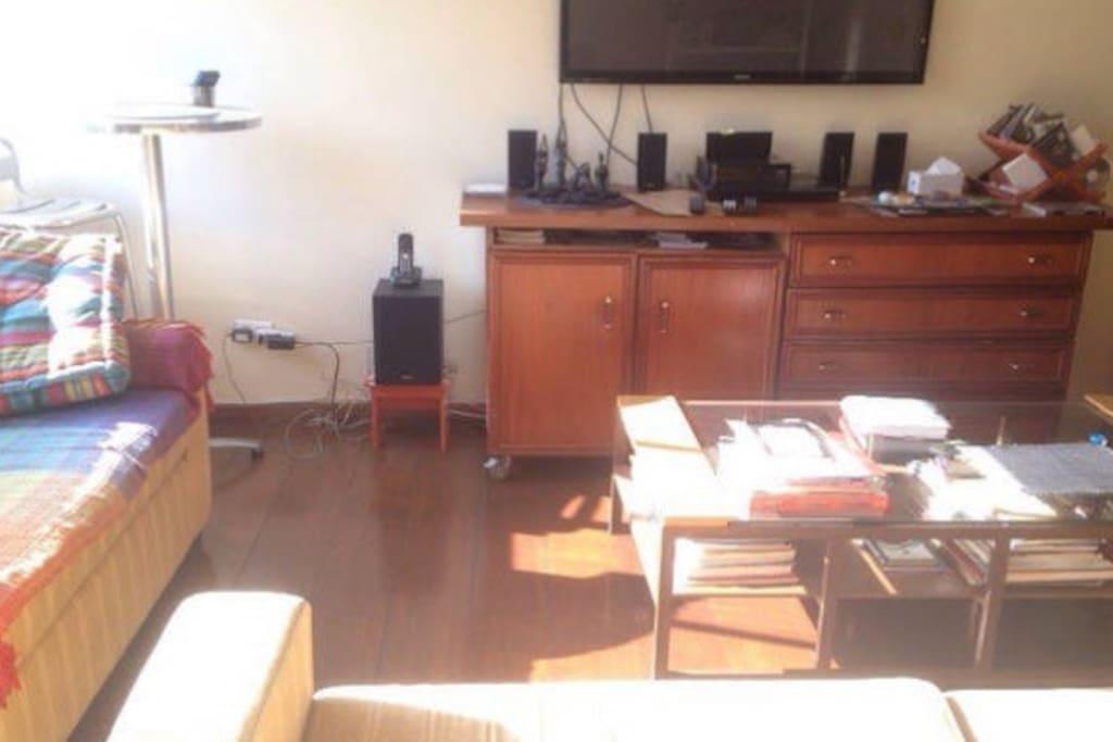 Sol . Vista. Tv . Livros . 2 sofas.