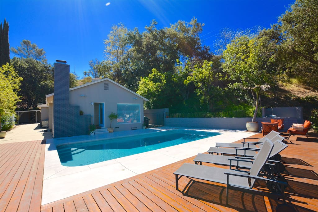 Beautiful deck and Saltwater Pool with lounge and dining furniture & BBQ