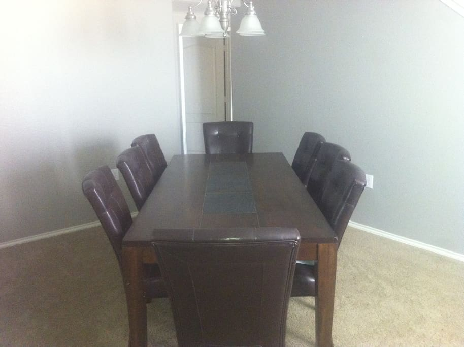 Large Dining Room and Table that seats 8