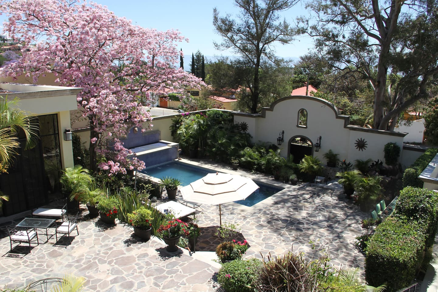 Overview of garden and pool area