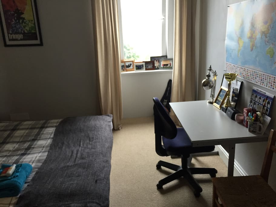 Desk in bright double bedroom