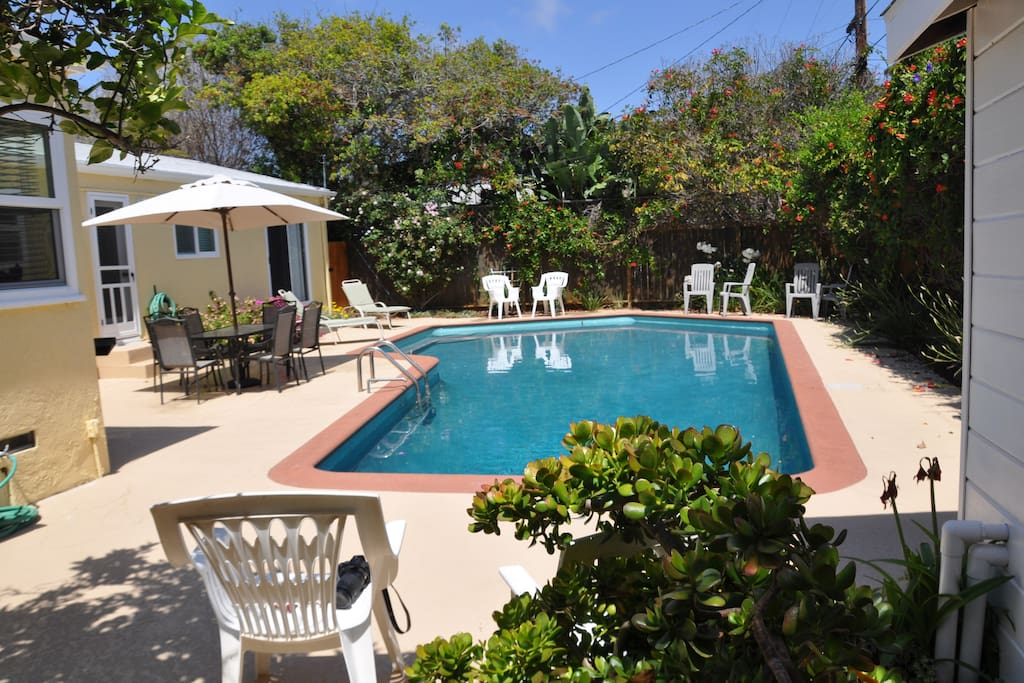 Sunny backyard with pool. Directly accessible from the house.