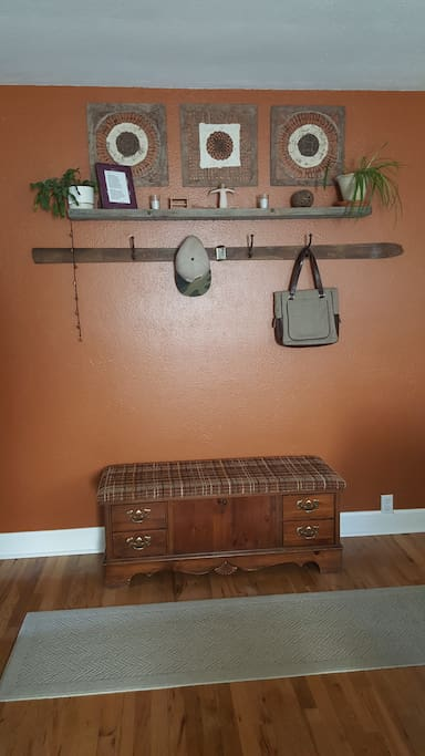 Entry coat rack and bench