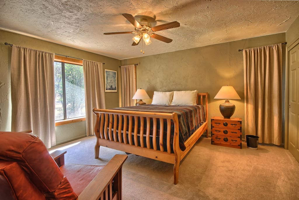 Master bedroom with queen bed and private A/C