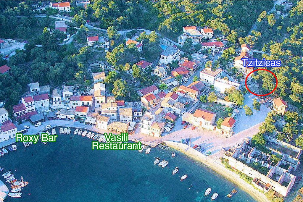 Loggos (public picture) and on the top right is Villa Tzitzicas, 90 meters from waterfront!