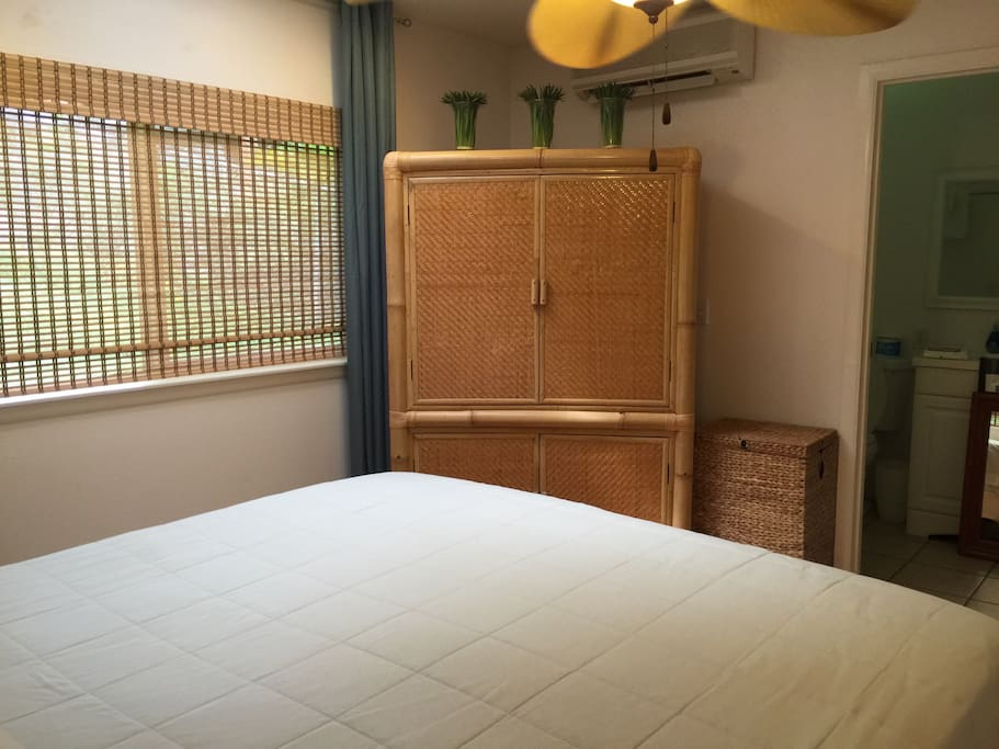 Master bedroom's tv enclosed in elephant bamboo armoir