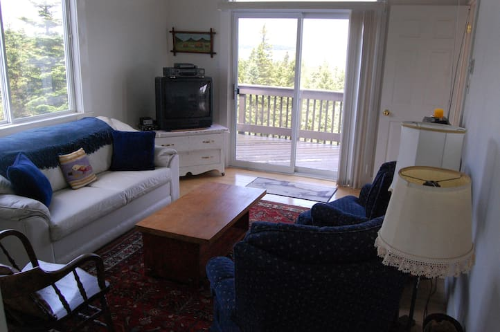 The den with pull-out couch and private deck is our 4th bedroom.  The TV is now a 42-inch widescreen with Netflix.