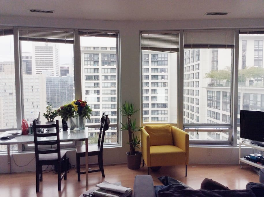Living room. Lots of space, natural light and Cozy