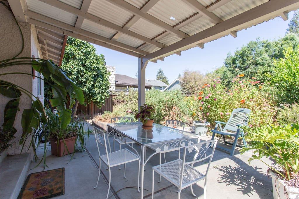 Backyard patio with eating area