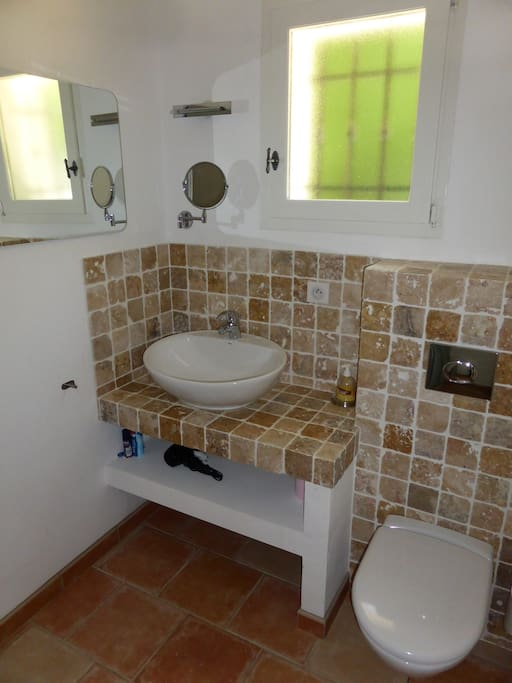 Your private en suite shower room with tumbled marble tiling