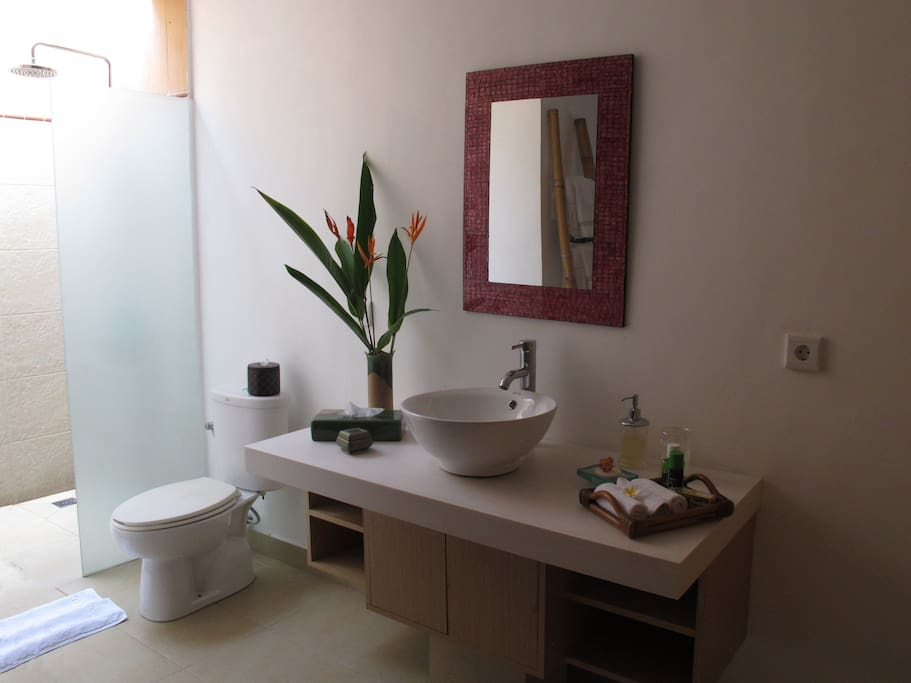 Private en suite bathroom with hot and cold rain shower.