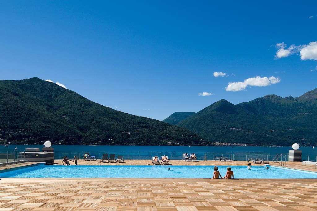 The shared pool has stunning views across the lake