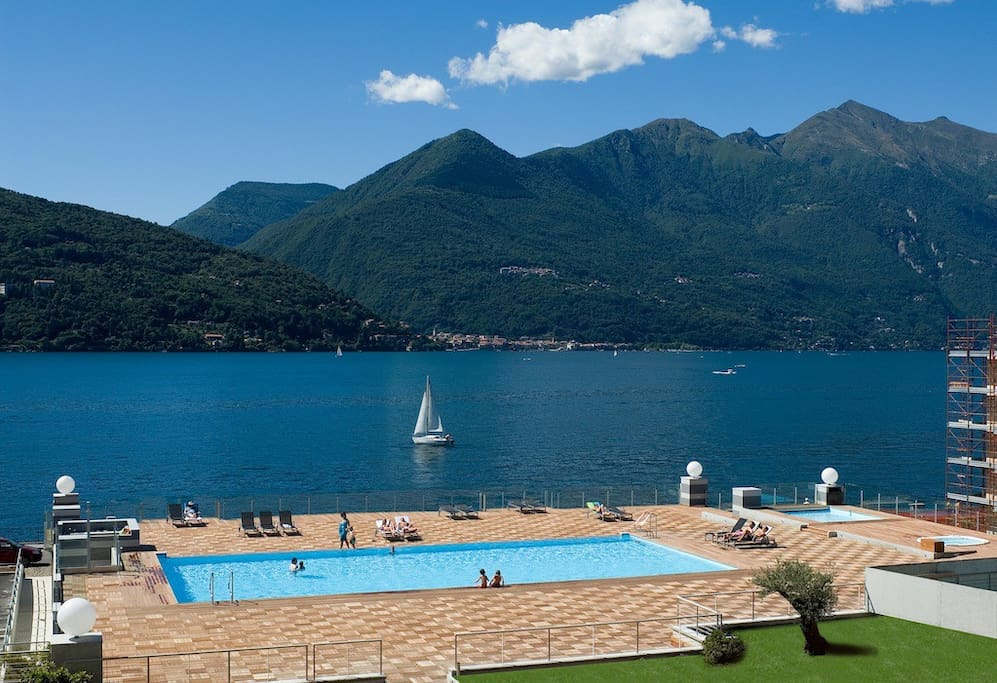The shared pool enjoys stunning views across the lake