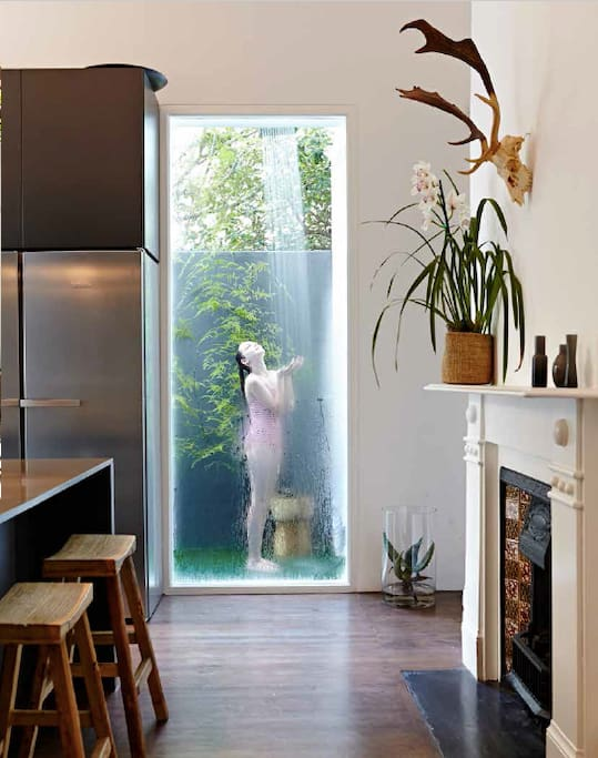 modern kitchen with outside shower