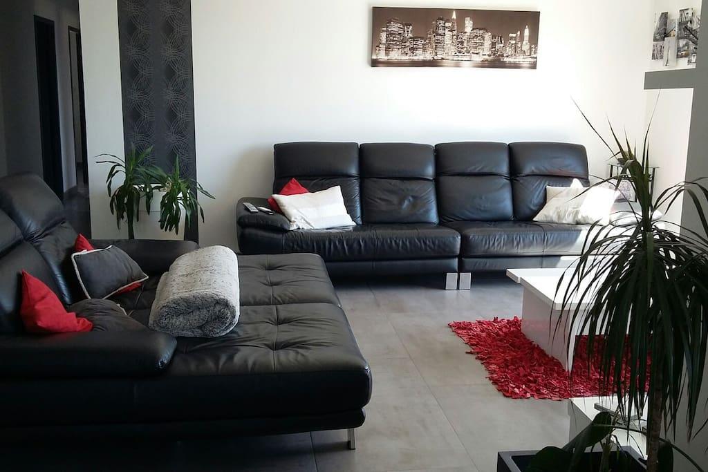 Salon avec très grand canapé
