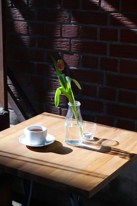 Sunny terrace and delicious coffee