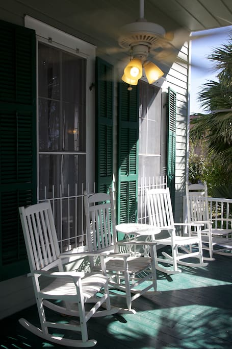 Relax on the front porch or on either of the upstairs porches which have hammocks and comfortable seating.