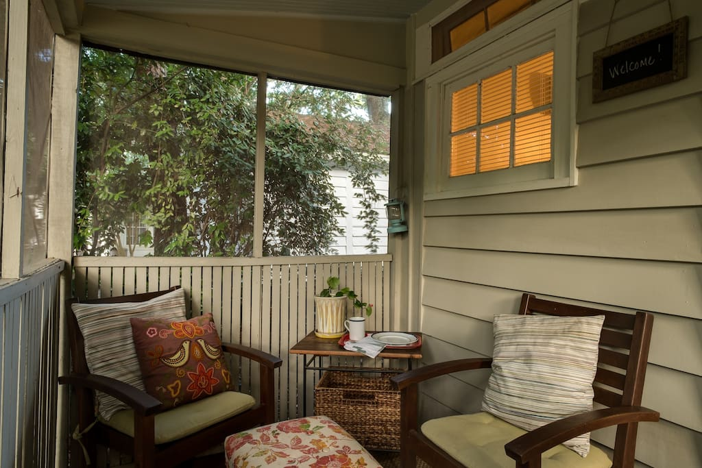 Relax on the screened front porch