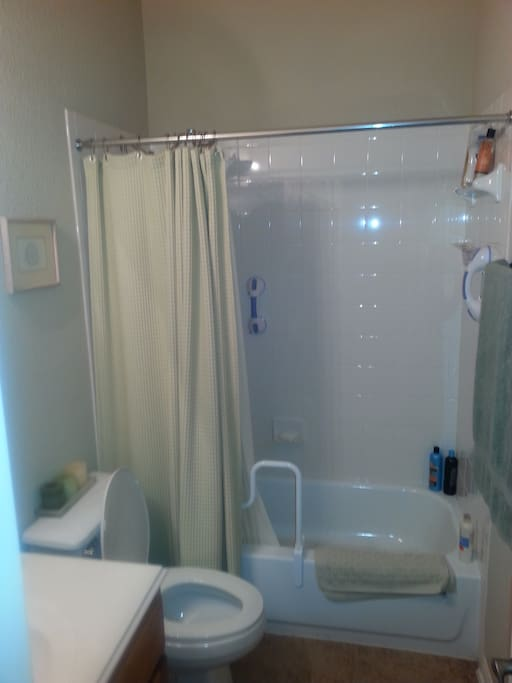 Full bath with tub & shower connected in private hallway to bedroom