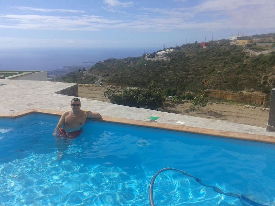 Heated swimming pool with sea views