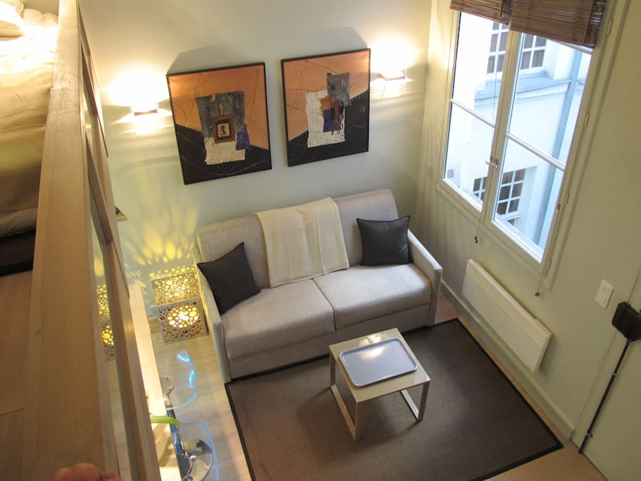 View from the mezzanine toward the living room.