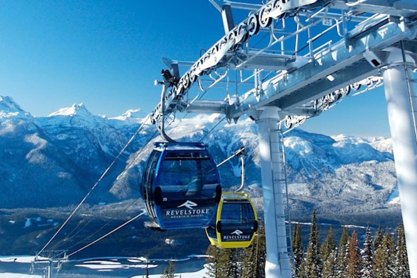 Gondola with the incredible Monashee mountains backdrop. Enjoy the views and the incredible snowfall here each year.