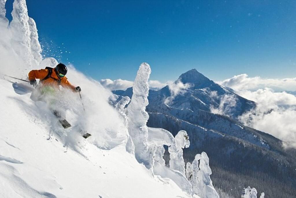 Skiing off the top of Mt Mackenzie
