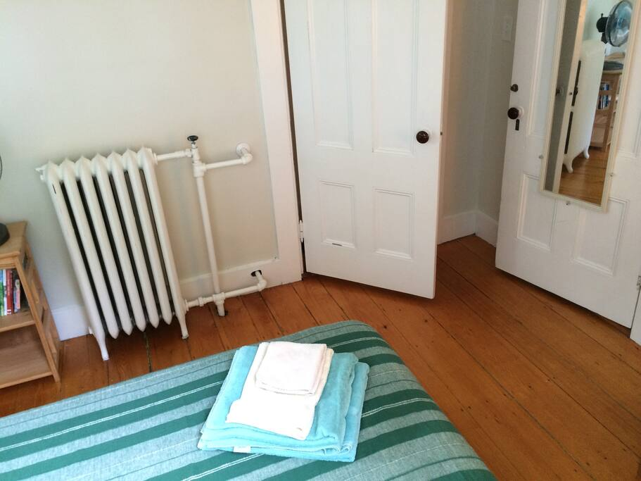 Lovely radiator heat, clean linens and a closet!