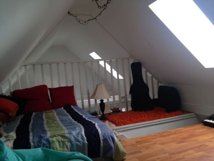 Loft with double bed, skylight.