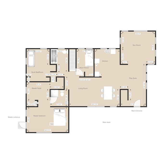 Floor plan with rooms labeled