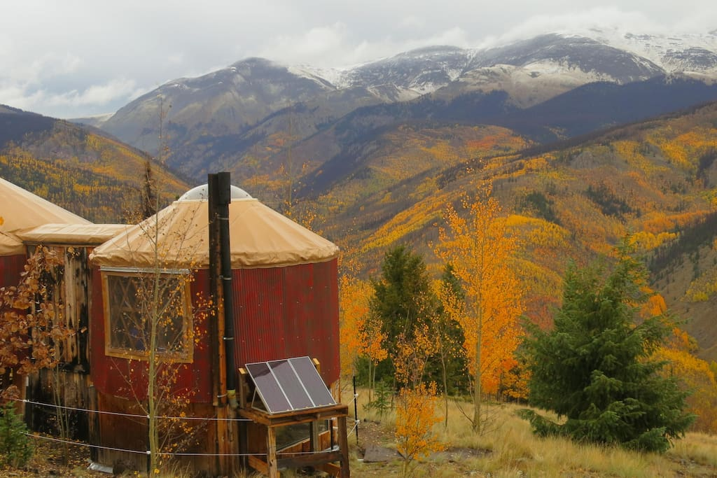 The yurt overlooks the spectacular West Willow creek drainage