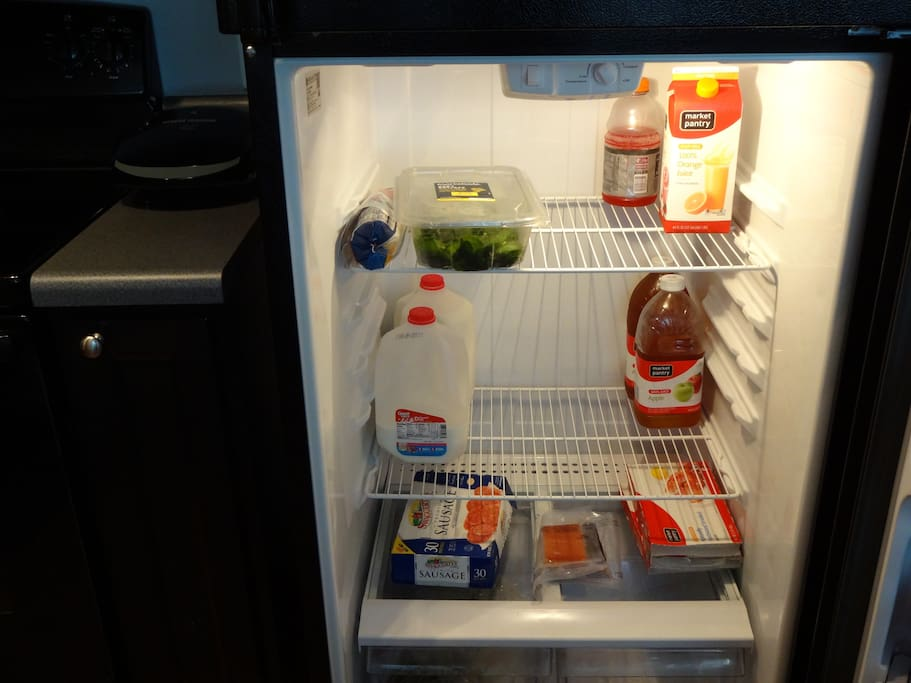 Clean refrigerator. Plenty of room to place personal foods in. ( My refrigerator does become more full than that sometimes).