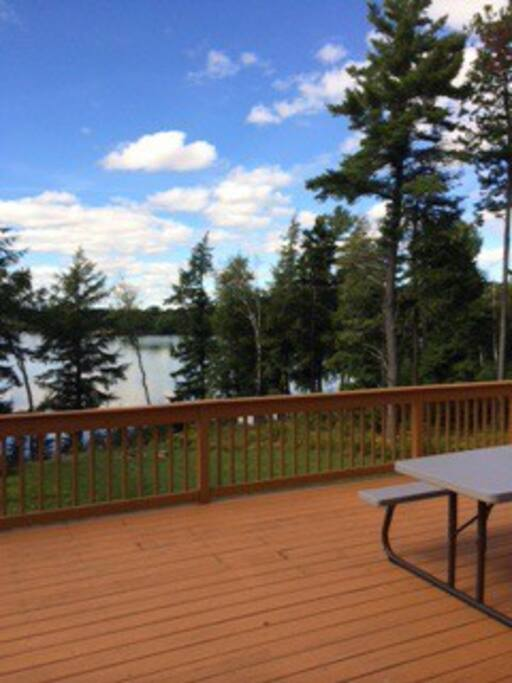 Large wrap around deck with lake views.