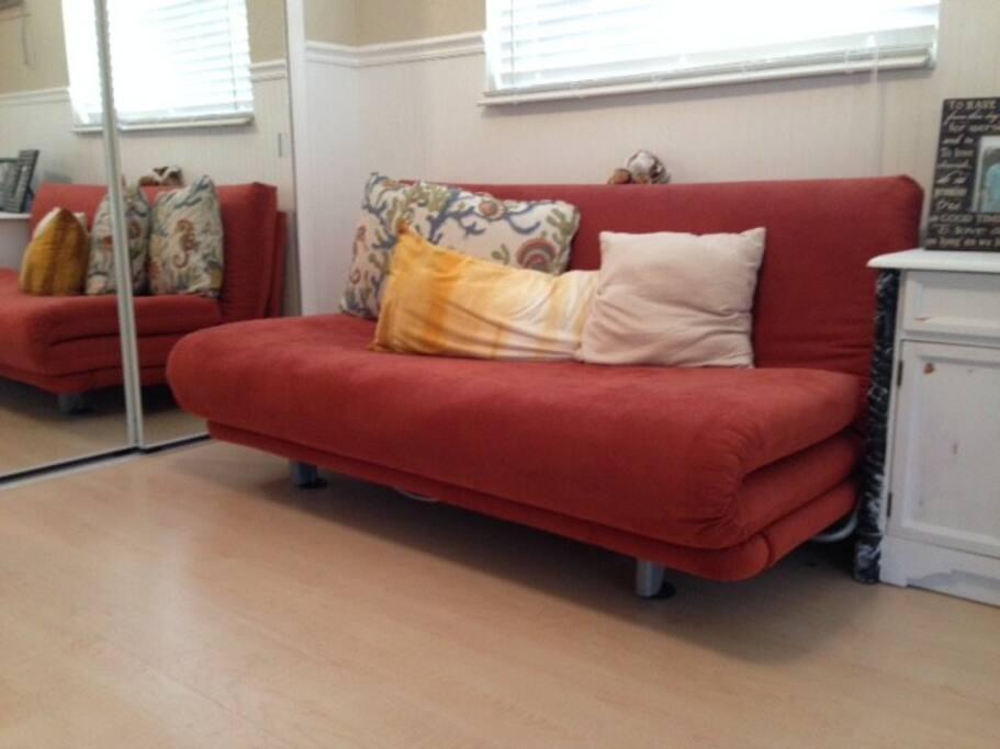 A surprisingly comfy futon...