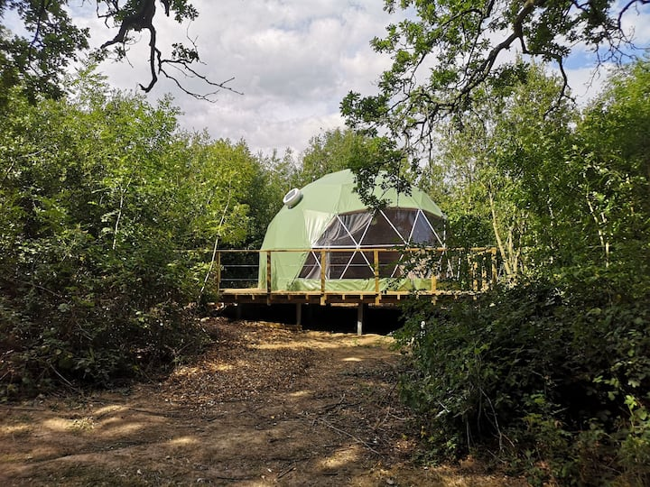 Glamp Wight Oak Geodesic Dome on the Isle of Wight