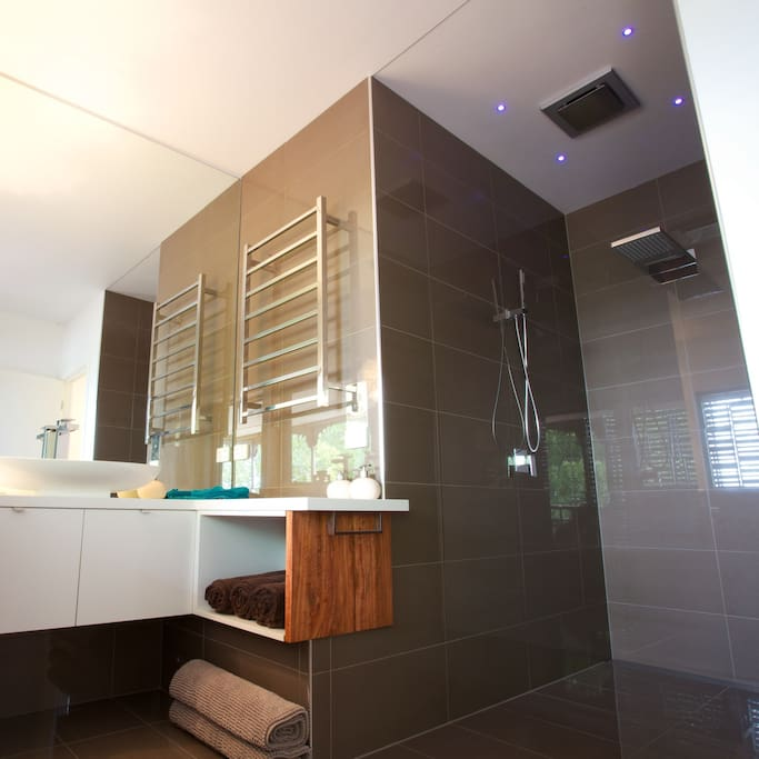 Resort style bathroom with rainwater shower and LED lighting.