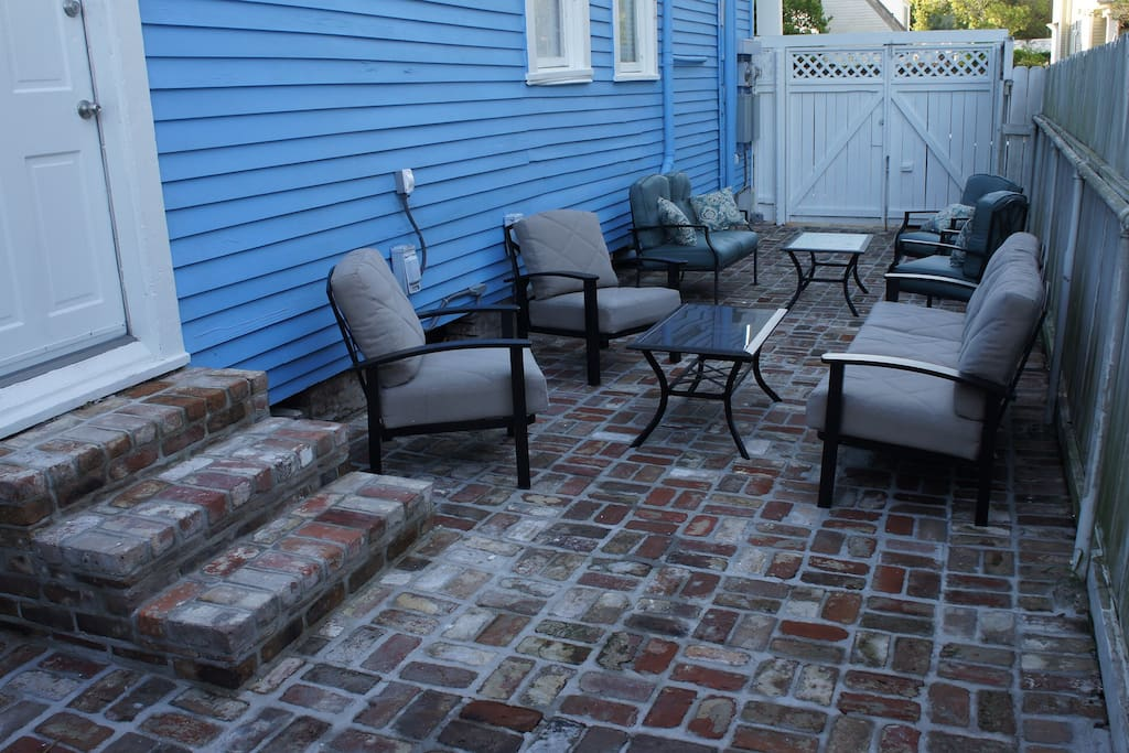 Newly Bricked Courtyard + New Grill & New Patio Furniture :)