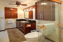 Bathroom: Wide-angle View of Vanity and Ceiling Fan