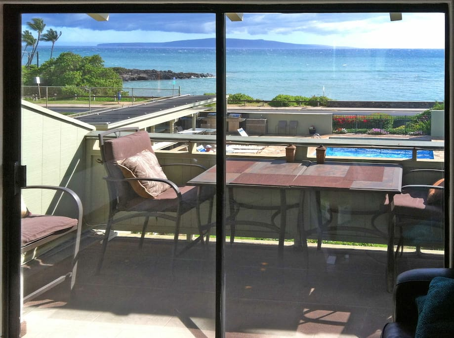 View of Lanai with Ocean View as seen from inside Condo