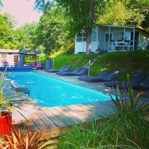 Riverside chalet nr. Biarritz with heated pool (1)