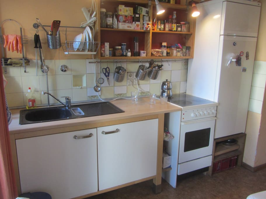 Fully stocked kitchen with dishes, pots & pans, all for you to use!