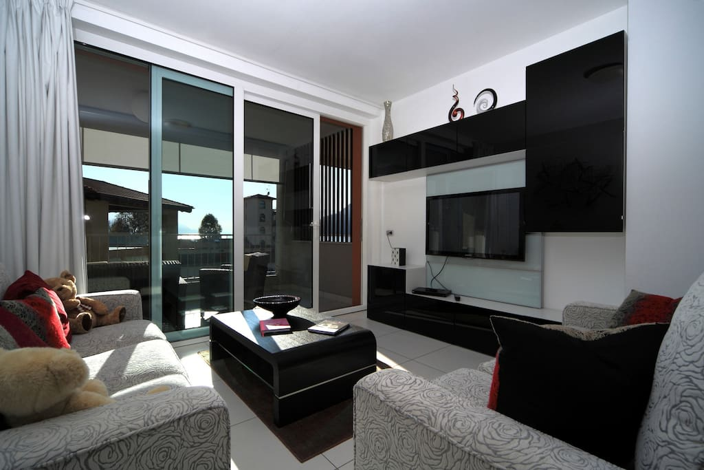 The apartment is furnished in a contemporary style