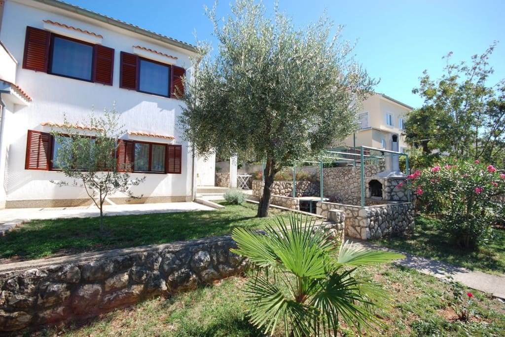 House is surrounded with lovely garden scenery. The main accent here is on the olive tree.